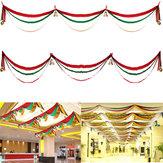 Decorazioni natalizie 3m Bandiera dell'onda Nastri Regalo Festival Decorazione per soffitti Banner con palline e campane