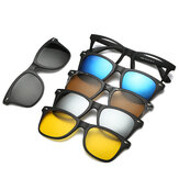 5 in 1 TR-90 Polarized Magnetic Glasses Clip On Magnetic Len