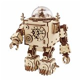 DIY Music Caja Set Music Clockwork Wooden Robot Puzzle Assembly Music Caja Christmas Gift for Kids
