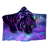 Galaxy Tiger Wearable Hooded Blankets Multifunctional Autumn Winter Dual Layer 3D Printing Plush Warm Shawl Cloak For Adults Kids