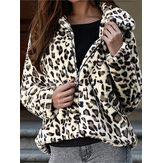 Women Winter Leopard Print Fleece Coats with Zipper