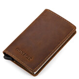 CONTACTS RFID Portable Auto Pops Up Business Card Holder Wallet Crazy Horse Leather Vintage Name Card Case ID Credit Card Storage Box