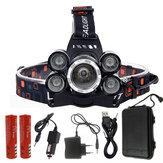 XANES® 7310-A Farol 2500LM T6 + 4xXPE 4 modos 90 ° ajustável à prova d'água 2x18650 Bateria Luz de trabalho do carregador CA / CC