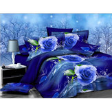 3PCS 200 x 230cm 3D Blue Rose Printed Bedding Pillowcase Quilt Cover Bedding Sets Queen Size