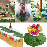 60Pcs Tropical Artificial Palm Leaves Hawaiian Hibiscus Flowers Wedding Birthday Party Decoration Table Decorations