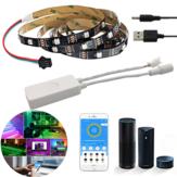 Водонепроницаемый WS2812 1M / 2M Smart LED Strip Light + DC5-24V SP501E Controller Work White Alexa Google Assistant Рождественские украшения Рождественские огни