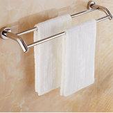 Double Towel Holder Bar Wall Mounted Stainless Steel Towel Shelf Rail Rack Holder Bath Holder