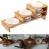 Elevated Dog Cat Bamboo Pet Feeder Ceramic Bowl Raised Stand 3 Sizes Durable