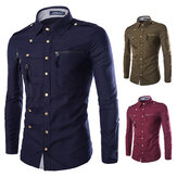 Mens Bergaya Mode Snap Fastener Multi Kantong Ritsleting Tanda Pangkat Dekorasi Slim Fit Designer Shirt