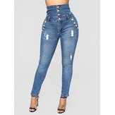 Women Casual Skinny High-Waisted Button Jeans
