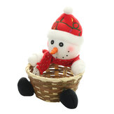 Loskii Bamboo Christmas Fruit Basket Children Xmas Gift Candy Sweet Storage Box Santa Elk Holder Decorations Container For Home
