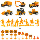24 PCS 1:64 Alloy Engineering Truck Excavator Forklift with Road Sign Minifigure Diecast Model Set Toys