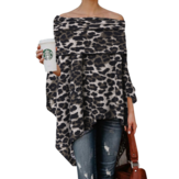Off Shoulder Irregular Hem Leopard Print Pullovers Blouse