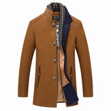 Winter Casual Coat Scarf Detachable Stylish Woolen Overcoat