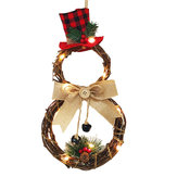 Christmas LED Wreath Garland Ornament Hanging Xmas Party Door Wall Home Decorations