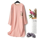 O Neck Cotton Long Sleeve Print Nightgown