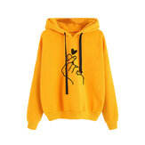 Print Love Drawstring Hooded Casual Sweatshirt