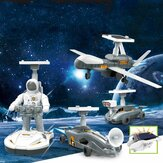 4 IN 1 DIY Assemble Solar Powered Space Robot Kit Model Toy for Kids Gift