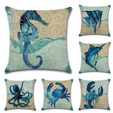 Ocean Octopus Sea House Crab Printed Cotton Linen Cushion Cover Square Sofa Car Decor Pillow Case