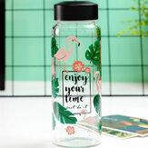 Borosilicate Glass Flamingo Fruit Pattern Szklana szklana butelka na wodę o wysokiej temperaturze