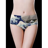 Printed Mid Waist Cotton Crotch Seamless Comfy Briefs