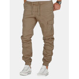 Multi-pocket Elastic Waist Solid Color Pants