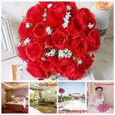 18 Kafa / Buket 15 '' Yapay İpek Güller Çiçekler Gelin Ev Düğün Dekor Malzemeleri