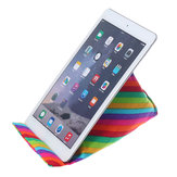 Rainbow Print Colorful Universal Portable Tablet Canvas Cushion Pillow Mobile Phone Desktop Reading Stand Holder for iPad Xiaomi for iPhone