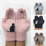 Outdoor Warm Cold Padded Cat Bird Print Gloves