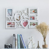 61*40cm White Creative Love Shaped Photo Frame Wall Mount 6 Pictures Decor New