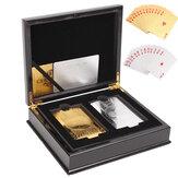 1 zestaw szlachetnego Classic 2 złote i srebrne karty do gry o wartości 100 $ Zwykłe pudełko do pokera Pokrywka kolekcjonerska
