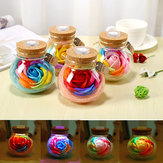 Handmade Valentine's Day Gifts Preserved Rose Flower in Glass Dome w/ LED Lights Decorations
