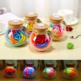 Presentes Artesanais para o Dia dos Namorados Preservado Flor de Rosa em Vidro Dome c / LED Luzes Decorações