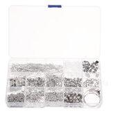 990 Unids / set Pernos de ojo Cierres de langosta Joyería Alambre Ganchos para pendientes Kit de búsqueda de joyas para DIY Fabricación de pulseras de joyería de collar