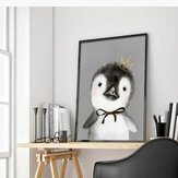 Miico Hand Painted Oil Paintings Cartoon Penguin Paintings Wall Art For Home Decoration