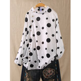 Polka Dot Print Button Plus Chemises de taille