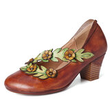 SOCOFY Women Flower Decoration Genuine Leather Slip On Spring Pumps