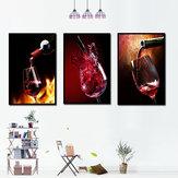 Miico pintado a mano tres combinaciones de pinturas decorativas Red W-ine Glass Wall Art para la decoración del hogar