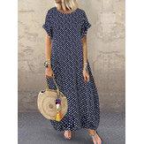 Women Polka Dot Print O-neck Short Sleeve Maxi Dress