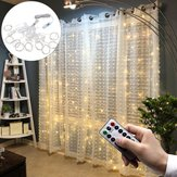 3 * 1 M USB 8 Mode 100 LED Curtain String Light dengan 10 Hooks Festival Decor Peri Lampu Natal Pernikahan