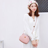 Bakeey Women Leisure PU Leather Shoulder Bag Small Round Bag Crossbody Bag with Earphone Hole