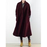 Женщины с длинным рукавом сплошной цвет повседневные пальто