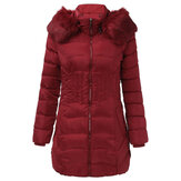 Women Warm Winter Hooded Long Down Jacket Zipper Coats