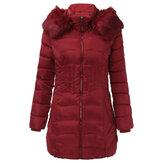 Женская теплая зимняя куртка с капюшоном на молнии