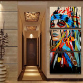 3Pcs Set Dipinti su tela donna indiana Stampa foto Modern Art Wall Home