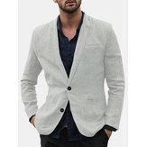 Erkek keten rahat trim tarzı tek takım elbise ceket