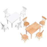 1:12 Miniature Dollhouse Dining Table Chair Mini Wooden High Table Chair Doll House Furniture Pretend Play Toys Accessories Desktop Decorations