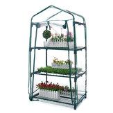 Mini serra AUEDW 4 ripiani Serra per interni / esterni con coperchio con cerniera e ripiani in metallo per la coltivazione di ortaggi, fiori e piantine Piantare Grow Scatola