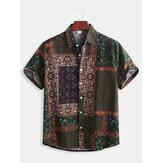 Mens style ethnique modèle impression chemises de mode décontractée