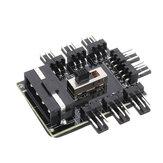 1 a 8 3Pin Fan Hub PWM Molex Splitter PC Cabo de Mineração 12 V 4 P Power Supply Cooler Cooling Speed Controller Adapter